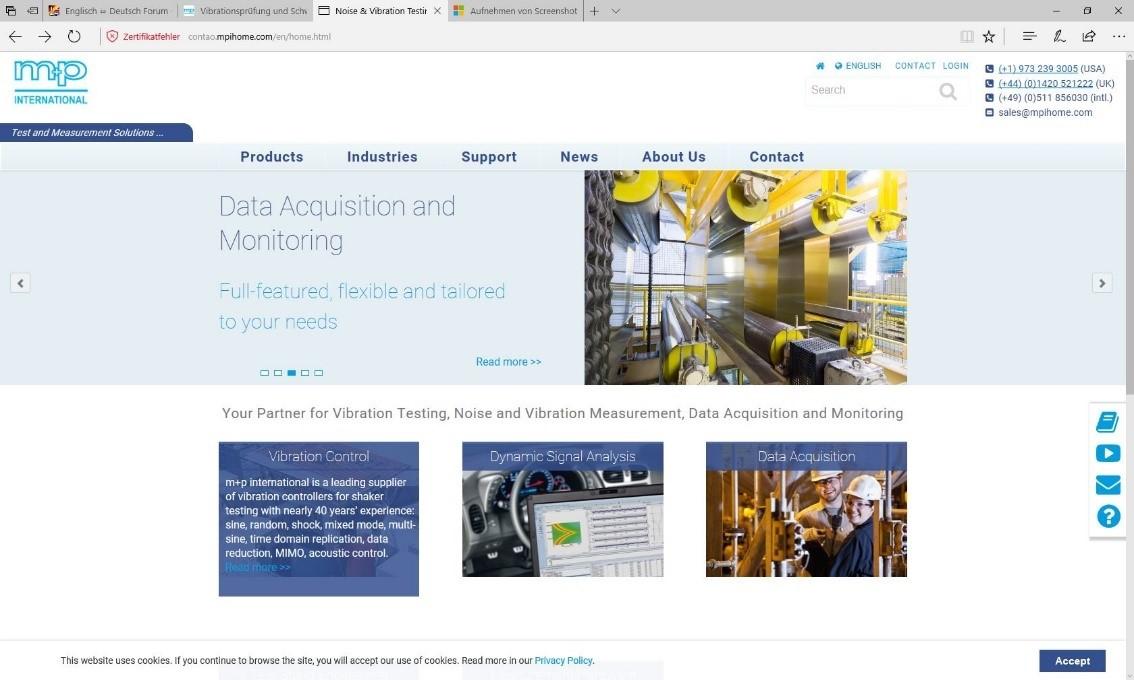m+p website screenshot