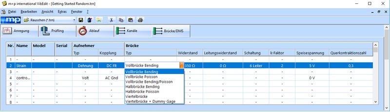 Konfiguration der Dehnungsmesskanäle in VibEdit